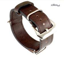 Diloy otan-vintage relojes pulsera cuero-durchzugsband moca 22 mm OTAN Strap