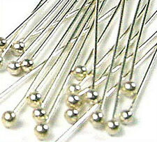 "100pcs  fine 28 gauge solid 925 Sterling Silver Ball head pin Headpin 1.5"" F11"
