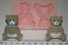 silicone mould baby boy girl teddy bear christening cupcake cake decorating fimo