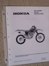 2001 Honda Motorcycle Scooter XR250R Set Up Instruction Manual Wiring Diagram L