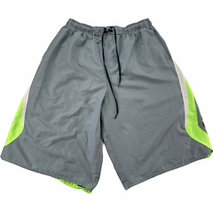 "Nike Board Shorts Men XLT x 11.5"" Gray White Polyester Colorblock"