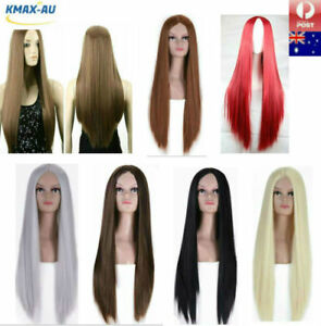 75cm Womens Long Straight Wigs Sleek Synthetic Cosplay Party Heat Resistant Cap
