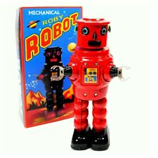 "TIN TOY ROBOT 8.5"" Wind Up Metal Outer Space Age Roby R-35 Red NIB Retro Style"