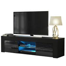 TV Board Lowboard Unterschrank TV Schrank mit LED Beleuchtung Schwarz Hochglanz