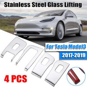 Car Steel Window Lift Button Cover Sticker For Tesla Model 3 Left Hand  ✔