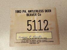 Vintage 1983 Pennsylvania Antlerless Deer Tag, Beaver County, low number
