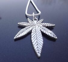 STAINLESS STEEL MARIJUANA LEAF WEED POT PENDANT WITH STERLING SNAKE CHAIN