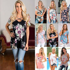UK Summer Womens Blouse Short Sleeve Casual T-Shirt Ladies Loose Tops Size 6-16
