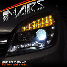 Black DRL LED Projector Head Lights with LED Indicators for Holden Astra H 04-12
