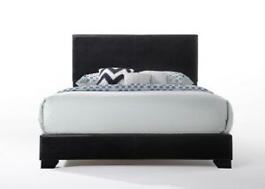 NEW Acme Ireland Queen Faux Leather Contemporary Bed, Black bed frame queen size