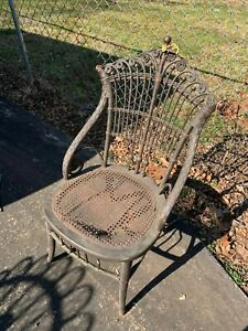 Heywood Bros. & Co Chair brown wicker cane wood in need of restoration