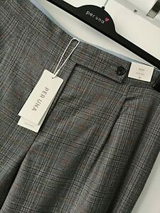 RRP£59 LADIES M&S PER UNA SIZES 18 20 22 24 GREY WOOL RICH LINED WIDE TROUSERS