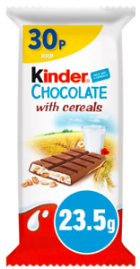 Kinder Chocolate With Cereals 40 x 23.5g Bars Best Before 20/05/2021 OUT OF DATE