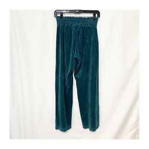 Juicy Couture Velour Soft Track Sweat Pants Teal Green Size Large Elastic Waist