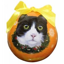 Black White Cat Christmas Ornament Shatter Proof Ball Yellow Snowflakes New
