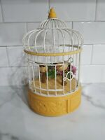 VTG Animated singing moves Love Birds in Metal Cage EUC.motion activated