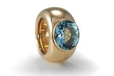 Luxus Ring Schubart Gelbgold massiv Blautopas [BRORS 10095]