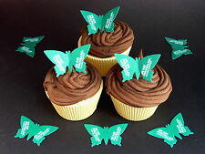 30 PRE-CUT MACMILLAN CANCER 2 BUTTERFLIES EDIBLE CAKE RICE WAFER PAPER TOPPERS