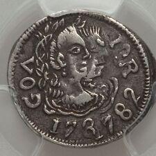 Ek // Meio Pardau Silver Goa 1782 India Portuguese Colony Maria I Pedro III VF35