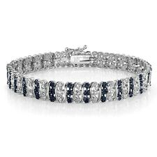 1.00ct TDW Treated Blue & White Diamond S Pattern Tennis Bracelet in Brass