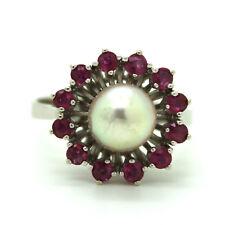 585er 14kt Weißgold Ring mit Akoya Zuchtperle und 12 Rubinen