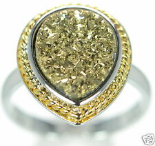 Solid 925 Sterling Silver Gold Color Pear Shape Druzy Cocktail Ring Size 9 ...