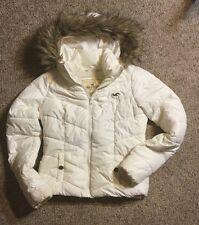 $300 Hollister Fur Down Filled Puffer Parka FUR HOOD Jacket Women Quilted SZ S