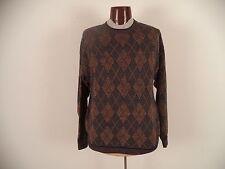 Mens Sweater/Sportswear. Jos A. Bank. L. Long Sleeve. Brown. Check. Crewneck.