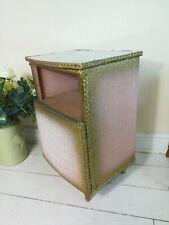 Lloyd Loom Style Bedside Cabinet Pink Lustre Gold