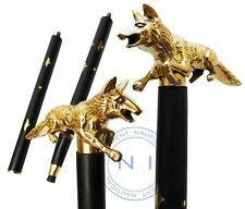 New listing Solid Brass Fox Head Handle Designer Walking Stick Cane Victorian Wooden Stick