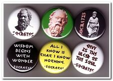 SOCRATES Buttons Pins Badges 6 philosopher philosophy greek plato aristotle