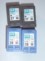 4 x EMPTY Original HP Inkjet Cartridges ~ 2 x HP 27 & 2 x HP 28 ~ Never refilled