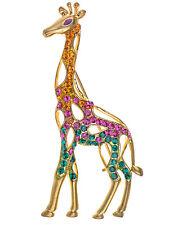 Topaz Rose Pink Body Fashion Crystal Rhinestone Giraffe Simple Pin Brooch Gift