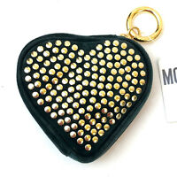 MOSCHINO!!! Vintage 1990s 'Moschino' dark green suede, heart shaped studded purs
