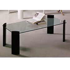 Tavolino da salotto moderno rettangolare piedi legno nero o bianco e piano vetro