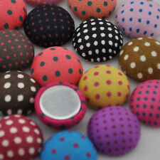 10/50/100pc 15mm round polka-dot printing fabric covered button flatback CT08