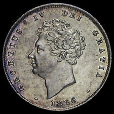 More details for 1826 george iv milled silver shilling, uncirculated