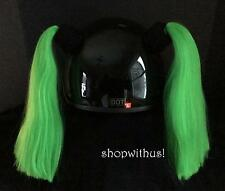 Custom Made Green or Orange Helmet Pigtails ~Motorcycle Skate Bike~25% More Hair