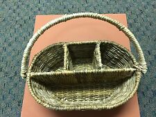 Wicker Rattan Wood Picnic Basket Plates Wine Utensils great quality Vintag