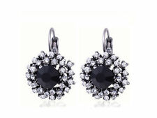 Silver Plated Black Vintage Rhinestone Crystal Round  Lever Back Earrings