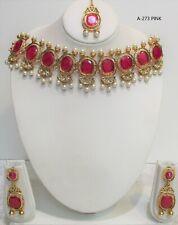 Bollywood Indian gold  Choker Necklace Earrings Tikka set Jewellery women new