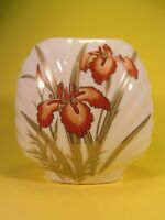Iris Vase Gold and Orange with Scalloped Relief Fine China Porcelain Japan
