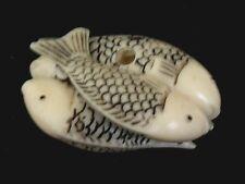 Japanese ivory color bone  Netsuke-2 Pairs of Twin FISH/Carp/koi Entwined
