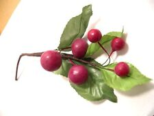 Floral Craft Pkg of 1 pc .Small Artificial Grapes on Leaves, Fruit, New