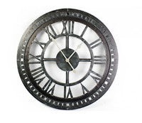 Metal Skeleton Geometric Wall Clock Iron Roman Numerals Grey 68cm