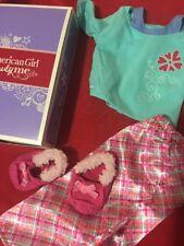 American Girl Doll Petals and Plaid Pajamas PJs T-shirt Pants Shoes Clothes NEW