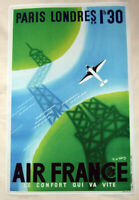 Large Format HiQ Facsimile of 1936 Air France Travel Poster~Eiffel Tower~36x23