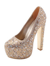 Gold Caroline Platform High Heel, EU size 39, Black Rhinestone Heel, Black Heel