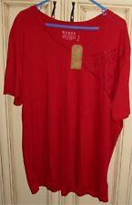 Men's 2XL GUESS V Neck 100% Cotton Classic Short Sleeve T Shirt Red SOFT XXL