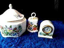 Vintage Porcelain Aynsley Wild Tudor Lidded Trinket Jar Clock Bell Collectible